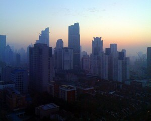 sunrise in foggy Shanghai