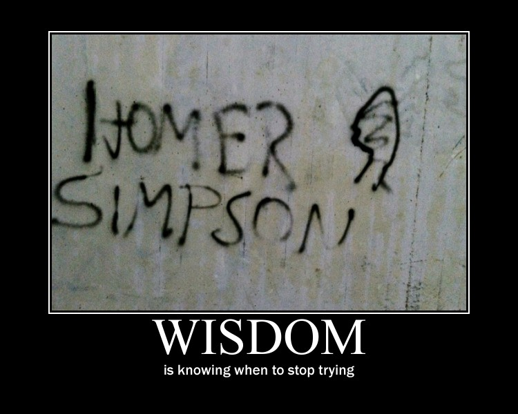 Wisdom is knowing when to stop trying